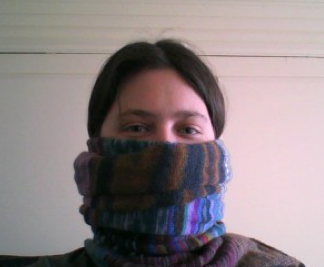 Kristina Clair with handknitted scarf