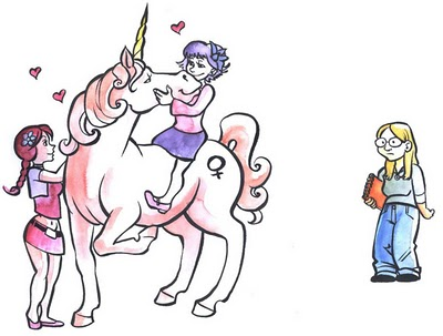 A bespectacled white girl wearing jeans and carrying a notebook stands slightly slouched. Slightly frowning, she looks at two white girls in miniskirts and wearing flowers in their hair, caressing a pink unicorn with a female symbol.