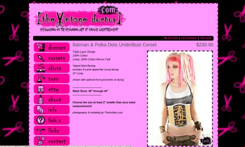 A screenshot of the shop website displaying a photo of a woman with blonde and pink dreadlocks wearing an underbust corset made of batman emblem print with yellow trim.