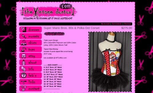 A screenshot of the shop site displaying a mannequin wearing an overbust corset with a large picture of Mario with red and white polkadot trim.