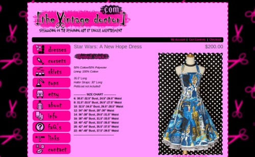 A screenshot of the website displaying a mannequin wearing a vintage style halterneck dress made of blue star wars fabric.