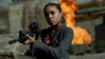 African American (black) woman from the recent Call of Duty commercial. One of the very few times a black woman has been used in the marketing of any game.