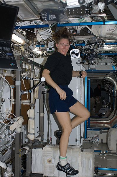 Sandra Magnus exercises in the Destiny Module on the ISS, in zero gravity
