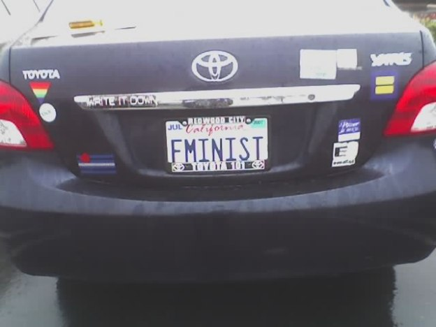 Feminist license plates, by Liz Henry CC BY-SA 2.0