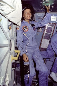 Photo of Sally Ride aboard the Space Shuttle.