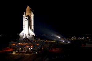 Space Shuttle Atlantis en route to launchpad