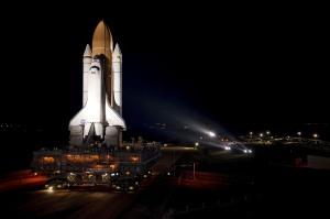 Space Shuttle Atlantis en route to launchpad