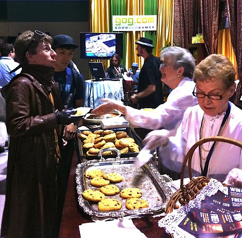 Booth Grandmas passing out cookies at Good Old Games PAX Prime 2011 booth