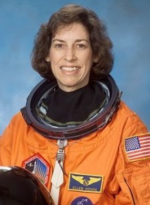 Ellen Ochoa portrait in spacesuit