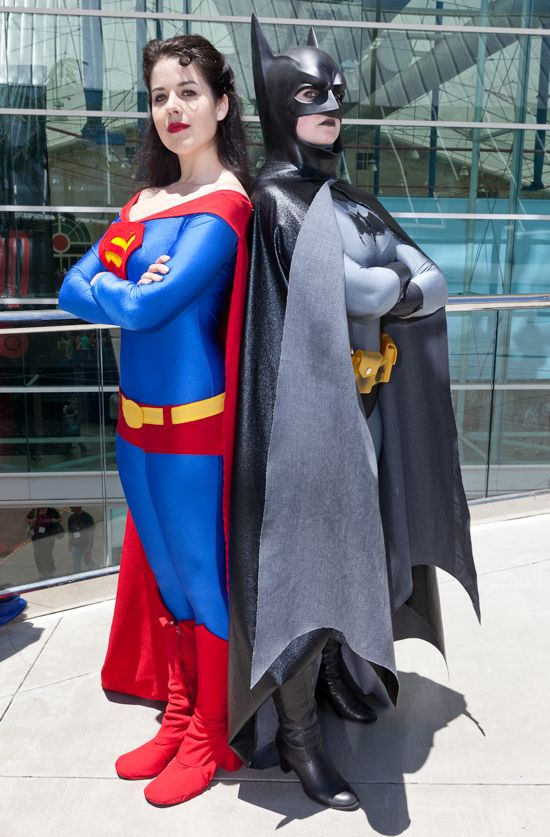 Kit Quinn as Superma'am and Tallest Silver as Batma'am