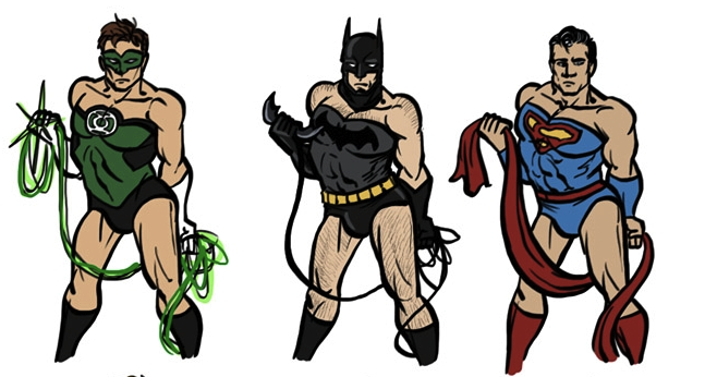 The Green Lantern, Batman and Superman, posing in the same style as used for Wonder Woman on the David Finch Justice League Cover