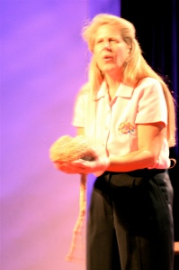 Photograph of Jill Bolte Taylor giving her TED talk