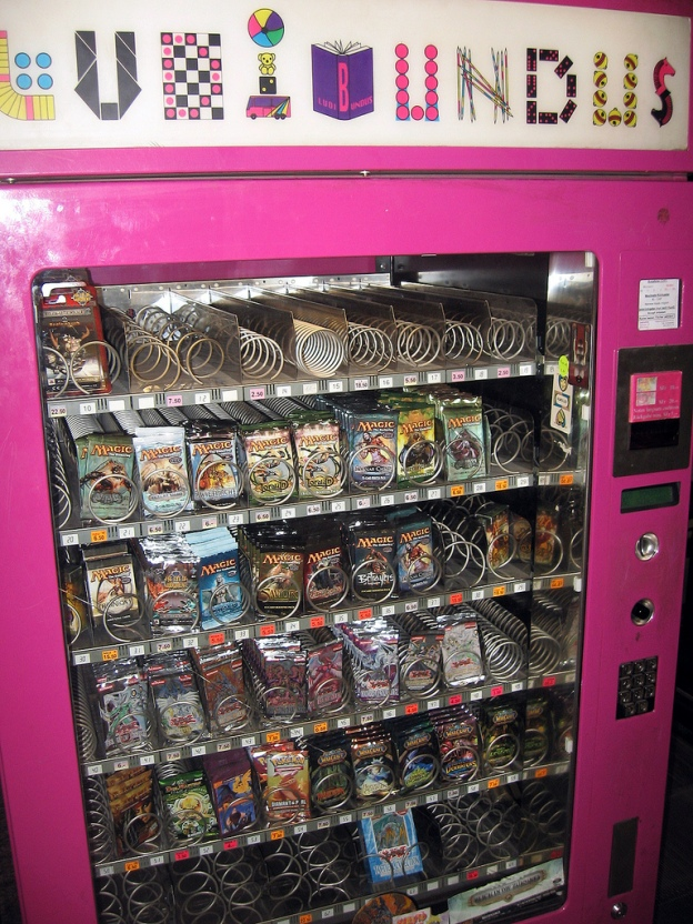A vending machine containing RPG cards