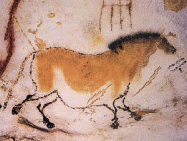 Painting of a horse in Lascaux Cave