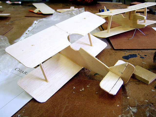 Detail of small wooden model plane
