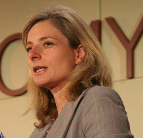 Head and shoulders photo of Lisa Randall speaking on a panel