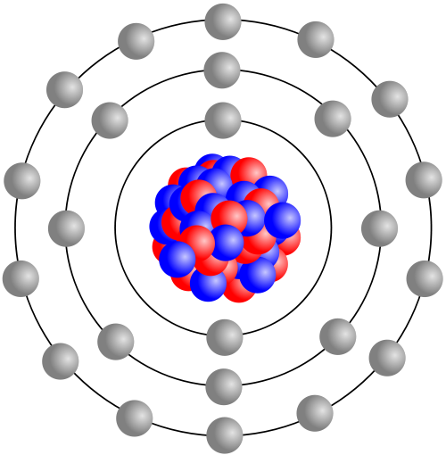 Stylised atom, showing nucleus and electrons