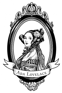 Ada Lovelace portrait in woodcut style
