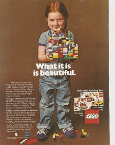 Old Lego advertisement featuring a little girl and her lego creation