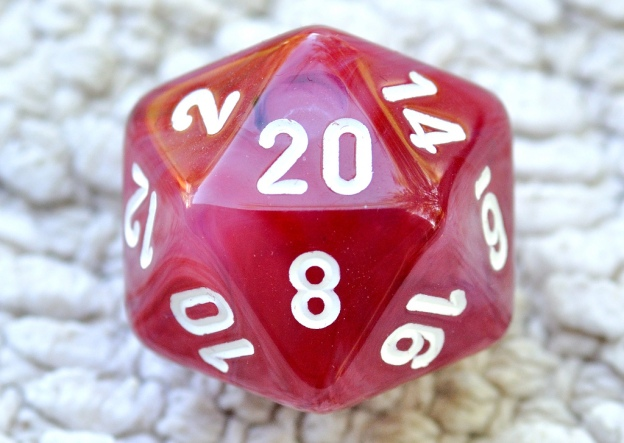 A d20 die showing the number 20