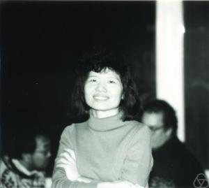 Black and white photo of Fan Chung in 1987