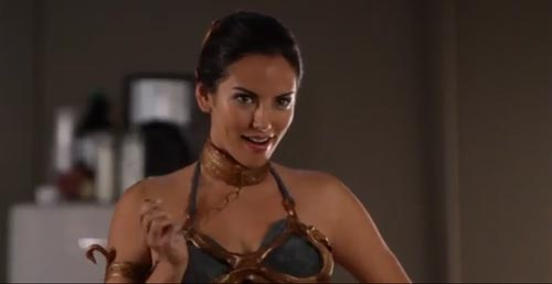 The girlfriend from the video, dressed as slave Leia