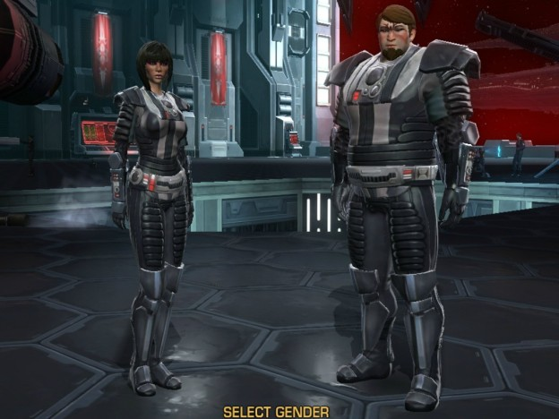 A female and male human character from The Old Republic: both are the maximum size allowed but the female model is much thinner