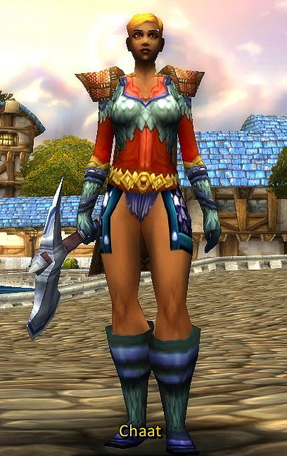 "Picture of a female warrior wearing ""pants"" that appear to be a bikini bottoms with blue square hankerchiefs that cover a little bit of her upper thigh. Screenshot by ianwhitney."