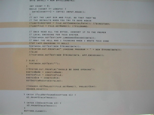 Screenshot of computer program code