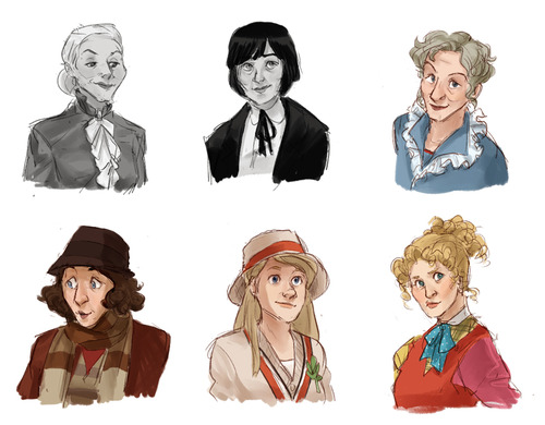 Time Ladies: first 6 Doctors from Doctor who, represented as women by Gladys @ http://rocketssurgery.tumblr.com