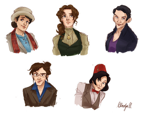Time Ladies: All 11 Doctors from Dr. Who, represented as women. Picture by Gladys @ http://rocketssurgery.tumblr.com