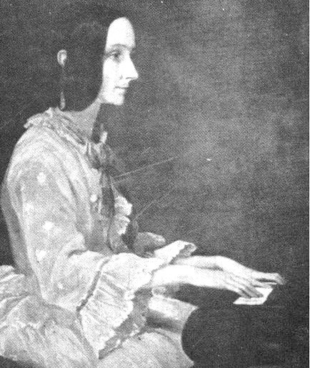 Painting of Ada Lovelace at a piano in 1852 by Henry Phillips.