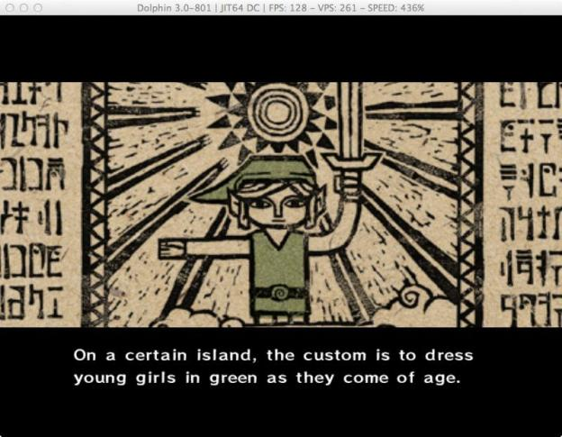 Screenshot from Mike Hoye's gender-hacked version of Windwaker