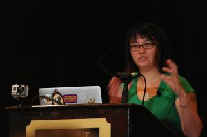 Selena Deckelmann keynoting Djangocon 2012.