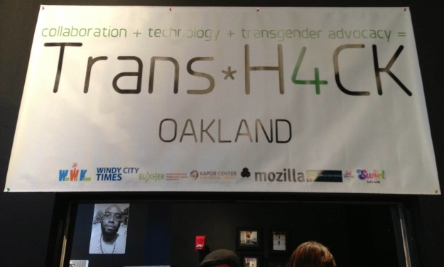 "A banner with the text ""Trans*H4CK Oakland"""