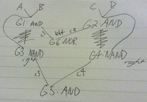 NAND and NOR gate sketch, coincidentally in the shape of a heart