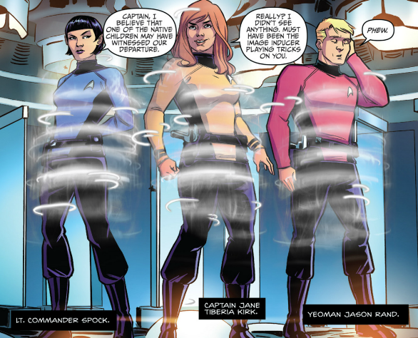 an image from a parallel, gender-flipped version of the Star Trek universe, where the Enterprise is under the command of Captain Jane Tiberia Kirk.