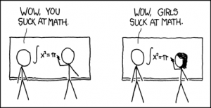 "xkcd: How it works (Two male figures: ""Wow you suck at math"", male and female figure: ""Wow girls suck at math"")"