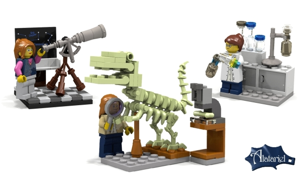 """Research Institute"" LEGO set, including three female scientists: the Astronomer, the Paleontologist, and the Chemist"