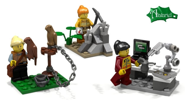 More scientist LEGO: Falconer with two birds, Geologist with compass and hammer in the field & Robotics Engineer designing a robot arm