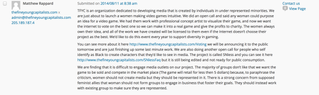 The full text of a comment from Matthew Rappard that was left on this blog