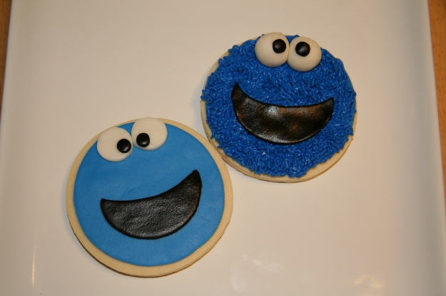 Two Cookie Monster cookies