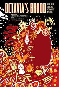 Octavia's Brood cover art: an abstract design in red and orange, showing a person in silhouette with many different symbols around them, against a black sky