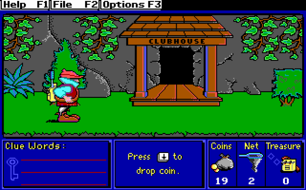 An 8-bit video game still image, showing an adventurer about to enter a clubhouse