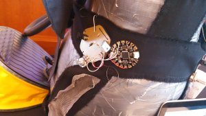 A close-up of some circuitry on the Patchworked Venus garment.